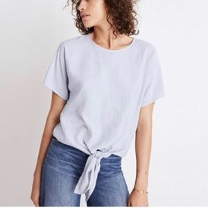 Madewell Button Back Tie Front Striped Tee Top